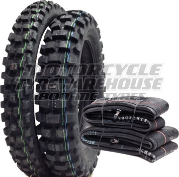 Picture of Dunlop D606 DOT TYRE & TUBE PAIR DEAL 90/90-21 + 130/90-18 *FREE*DELIVERY* SAVE $60